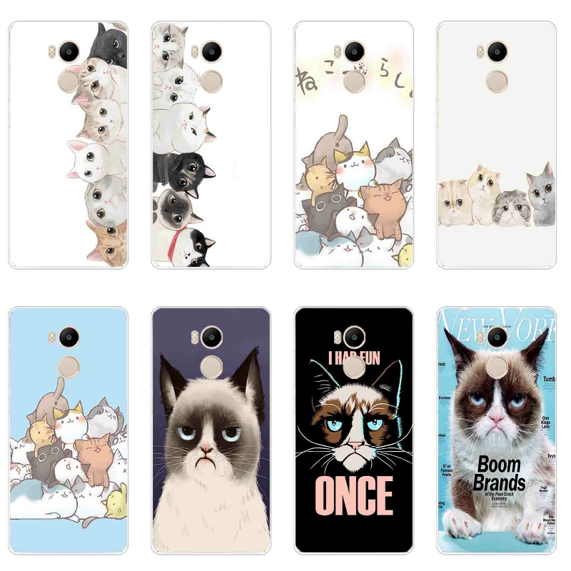 Phone Case Xiaomi Redmi 4 Pro Cover 5.0 inch Transparent Ultra Thin Redmi 4s Prime Shell Silicon Funny Cat Pattern