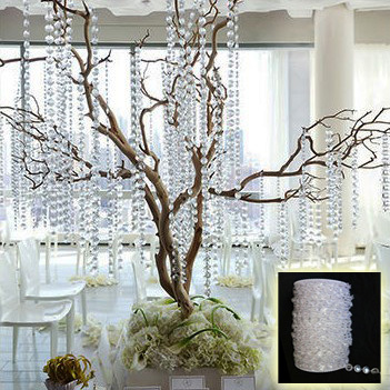 Best Seller!30Meters/99Feet/roll10mm acrylic disk beaded clear crystal garland strands for wedding decoration table chandelier(China (Mainland))