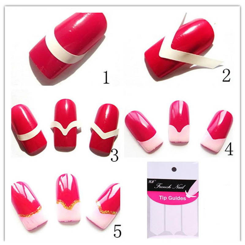 48pcs/pack Guides Nails Decoration Nail Tools Nail Sticker Nail Art Water Decals Form Fringe Guides Sticker DIY French Manicure(China (Mainland))