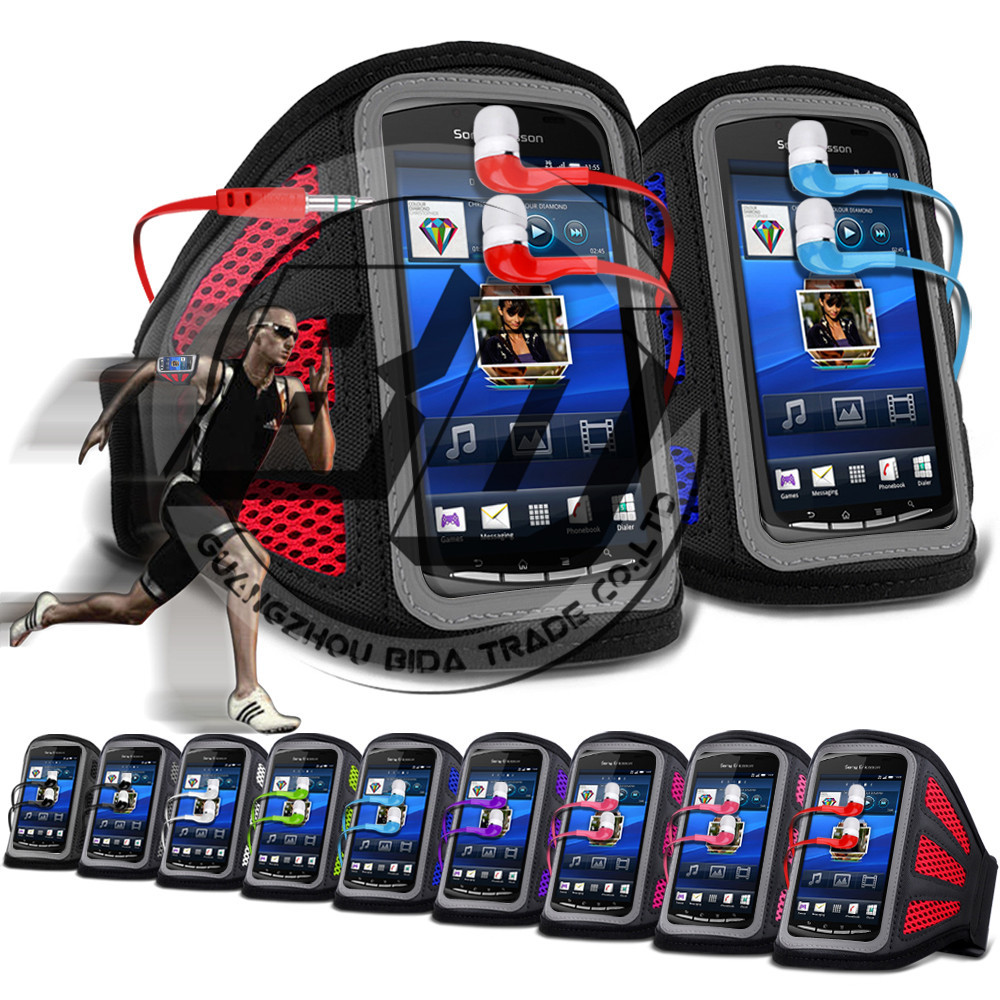 For Sony Xperia Play R800 High Quality Mesh Breathing Holes Cell Phones Running Sport GYM Jogging Armband Case Cover Earphone(China (Mainland))