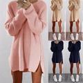 Casual Loose Fashion Elegant Women 2016 Autumn Winter Dresses O neck Long Sleeve Zipper Pink Knitting