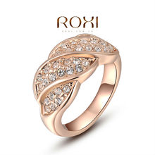 ROXI Exquisite rose golden screw colorful rings plated with AAA zircon fashion jewelry for women best