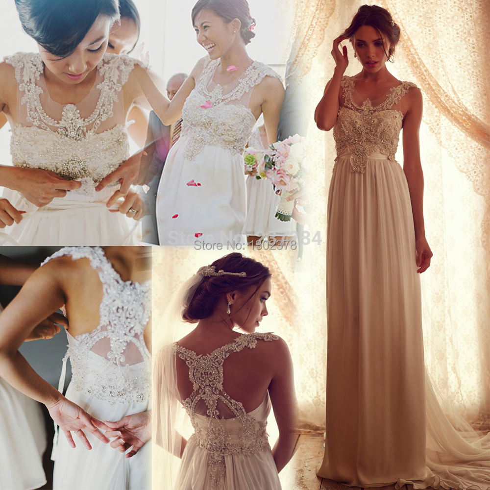 Romantic anna campbell wedding dress diamond beaded for Anna campbell vintage wedding dress
