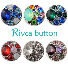 D02137 Hot Wholesale 8 Color High Quality Charm Rhinestone Styles Alloy Ginger Snap Button Bracelets Woman Rivca Snaps Jewelry