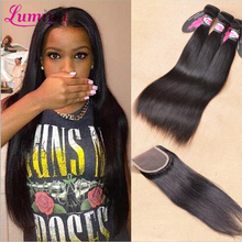 7a Malaysian Virgin Hair With Closure Straight Human Hair Weft With Closure Rosa Hair Products 3/4 Bundles With Closure(China (Mainland))