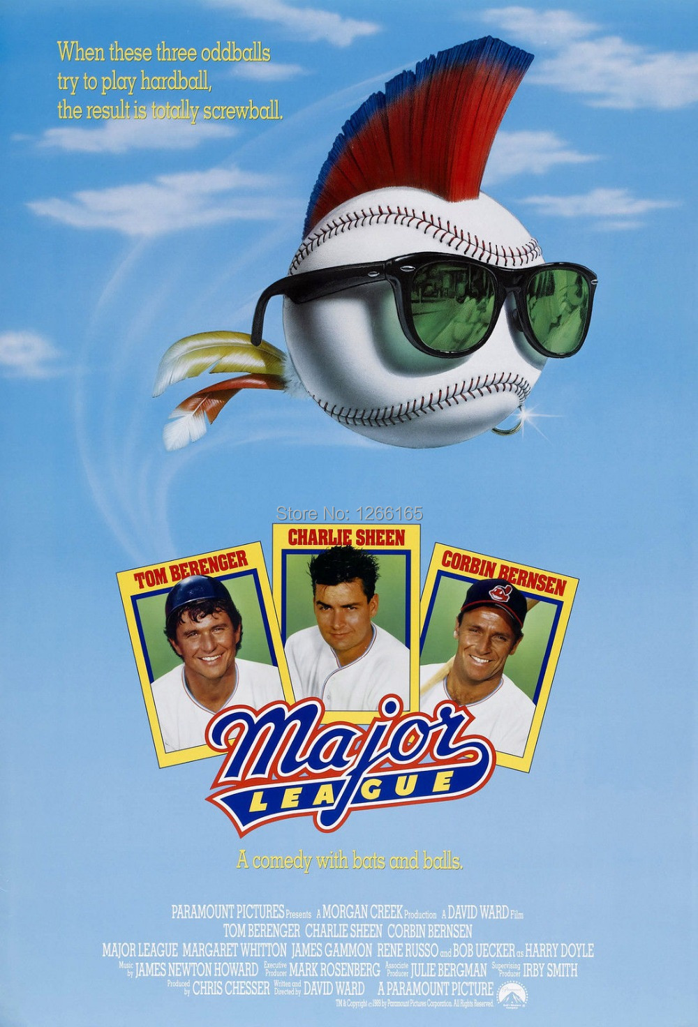 MAJOR LEAGUE Movie Poster 1989 Charlie Sheen Print Silk ...