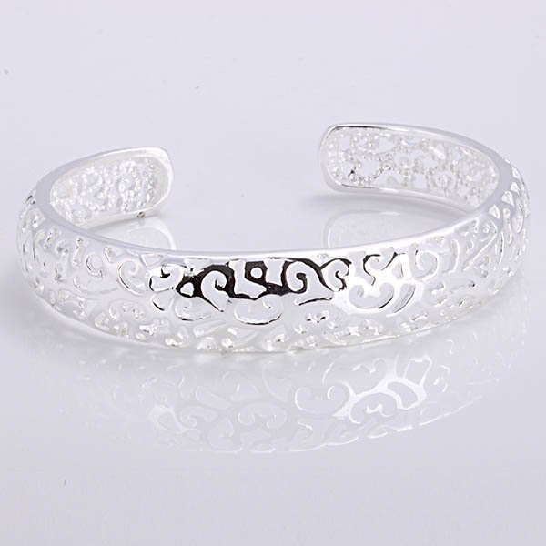 Free Shipping Wholesale Jewelry Fashion Silver Packet Side Of Hollow Bangles Factory Price 925 Silver Bangles