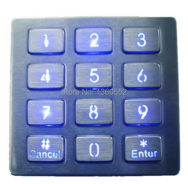 top mount metal illuminated key button usb backlit keypad,LED backlighted 12 keys 3X4 stainless steel keypad for access system(China (Mainland))