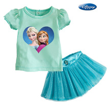 Frozen-Frozen printing princess skirt piece skirt suit wholesale trade outlets [stock ](China (Mainland))
