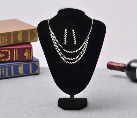 2015 New Fashion Rhinestone Pendants & Necklaces Jewelry 2 pc Set For Women wedding Charm Bridal Jewelry Sets Silver Jewelry(China (Mainland))