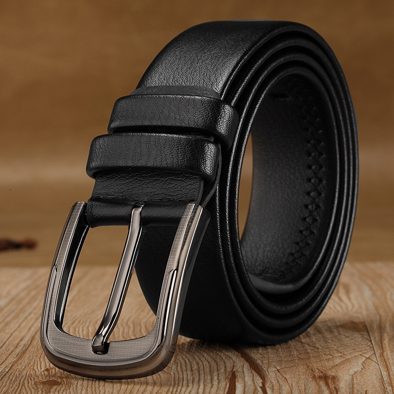 Men's Belt Leather Metal Buckle Bling Boys Belts Accessories Man All-Match Waistband(China (Mainland))