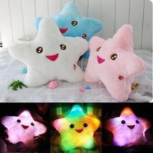 1pc Lovely Cartoon Luminous pillow Christmas Toys Colorful Smile Star Led Light Pillow Plush Pillow Kids Toys Birthday Gift(China (Mainland))