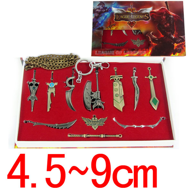 High Quality 11 Pcs/set LoL Characters mini Weapons Metal Pendant Necklace Keychain Collection In Pretty Gift Box Christmas Gift(China (Mainland))