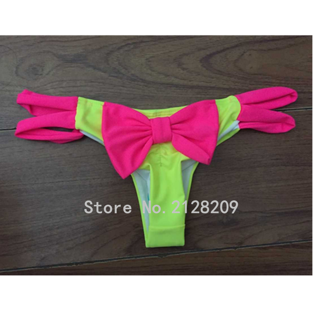 2016 new swimming briefs sexy swimwear women bikini bottom big bow brazilian tanga panty underwear biquini swimsuit SH-DLE-05(China (Mainland))