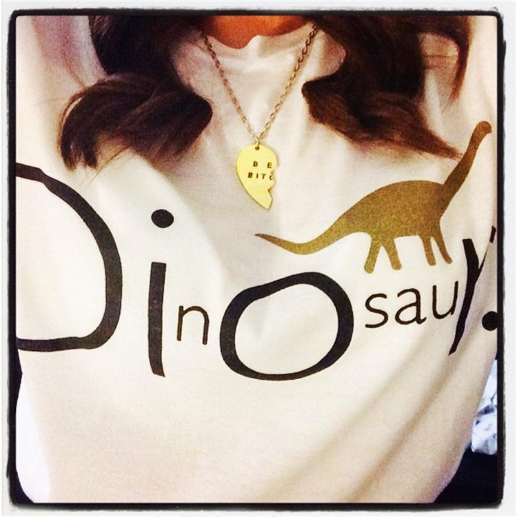 2015 Summer Short Sleeve Women T Shirt Dinosaur letter printing short T Shirt Women Shirts Clothes