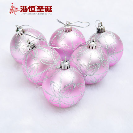 Christmas Tree Ornaments 6 cm silver plating colored drawing smooth pink Christmas balls 64 g (A pack of six balls) (GHB043)(China (Mainland))