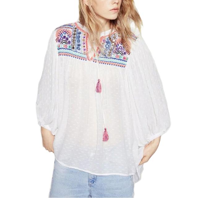Женщины винтаж Boho вышивка свободные блузки с длинным рукавом о-образным вырезом ...