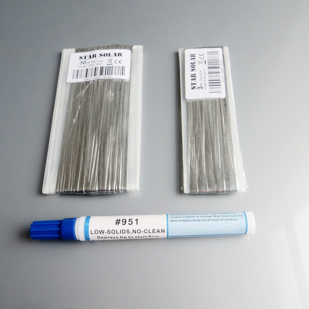 30M Tab wire + 3M Bus wire PV Ribbon Tabbing wire +1pc Kester 951 10ml Soldering Rosin Flux Pen(China (Mainland))