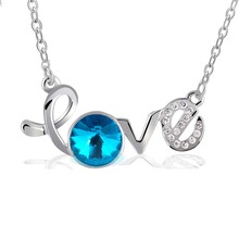 New Arrival Trendy Colors big V shape Crystal Rhinestone letter LOVE  Necklace Pendant For Women Gift Female Fine Jewelry(China (Mainland))