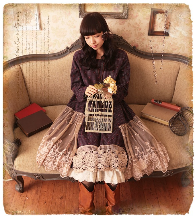 2016 Spring New Women Wave Point Dress Japanese Mori Girl Long Sleeve Lace Patchwork Corduroy Vintage Embroidery Loose Dress(China (Mainland))