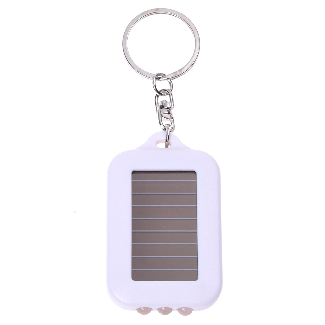 10X Mini Solar Power Rechargeable 3LED Flashlight Keychain Light Torch Ring New - white(China (Mainland))