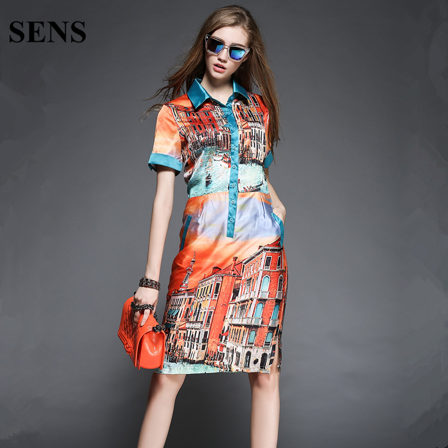 SENS Vintage Print Casual Dress New 2015 Summer Fashion Turn-down Collar Knee Length Women Party Dresses Plus Size Vestidos A02(China (Mainland))