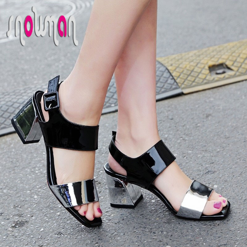 2016 Summer Genuine Leather Sandals Patch Color Hoof Med Heels Shoes Woman Red Bottoms Ankle Strap Sandalias Mujer New Style
