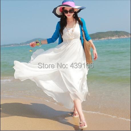 jerry 2015 summer new women bohemian beach dress white chiffon Ruffles dress seaside resort large size v-neck dress(China (Mainland))