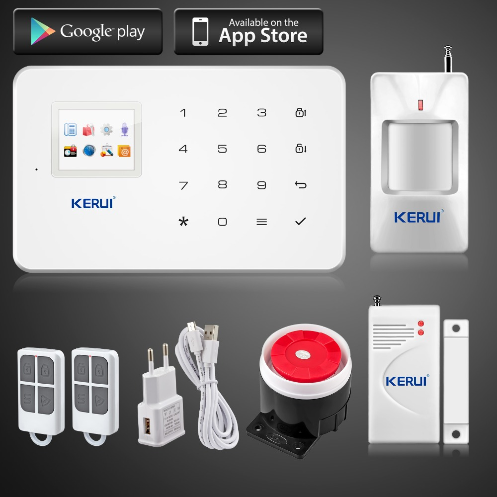Kerui G18 Android /iOS App control wireless gsm security system alarm home wireless magnetic window sensor+pir motion detector(China (Mainland))