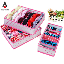 3PCS Hot Selling In Set Rose Pink Dot Non-woven Design Home Folding Storage Box For Underwear Boxes Sock Bra Ties Organizer(China (Mainland))