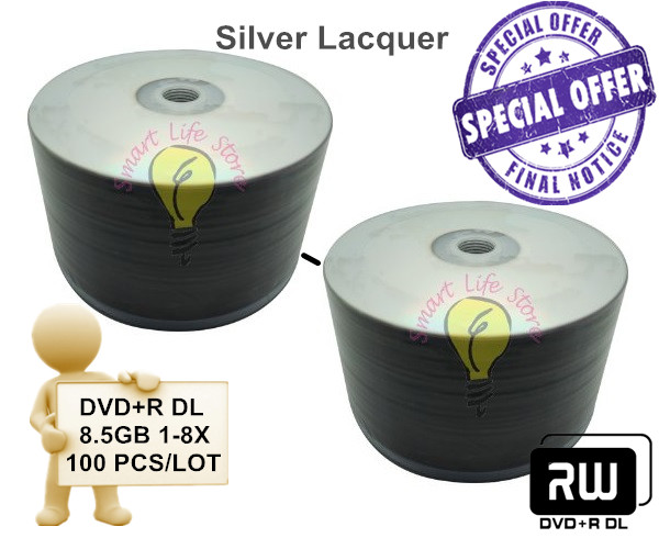 DVD+R 8.5GB DL 8X - 100 PCS/Lot - Silver Lacquer Non Printable / dvd r / blank dvd / dvd 8.5gb(China (Mainland))