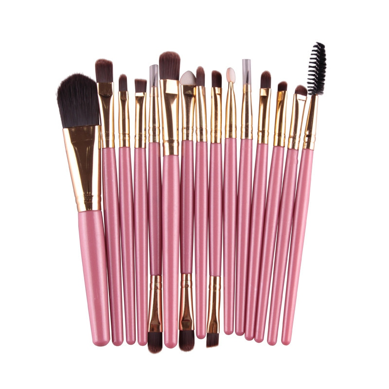 15 Pcs Professional Cosmetic Makeup Brush Women Foundation Eyeshadow Eyeliner Lip Brand Make Up Eye Brushes Set 4 Colors A8