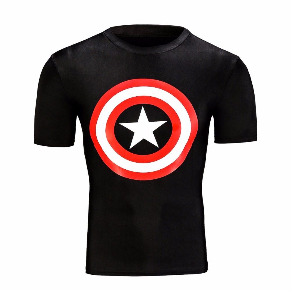 NEW 2016 Captain America Fitness T shirt superman breathable t-shirt men's sports Workout clothes top tees(China (Mainland))