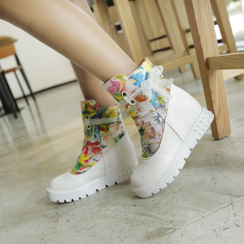 2015 winter new chelsea ankle boots bowtie fashion boots comfortable printing leather height increasing heels flowers boots R110(China (Mainland))