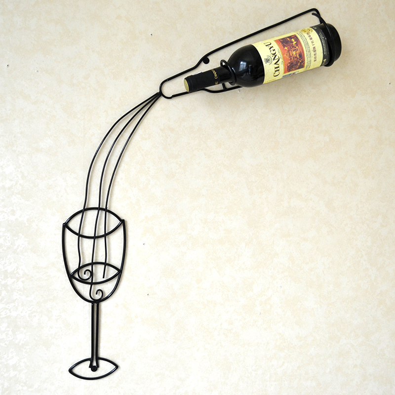 Handmade Creative Wall Mounted Wrought Iron Wine Display