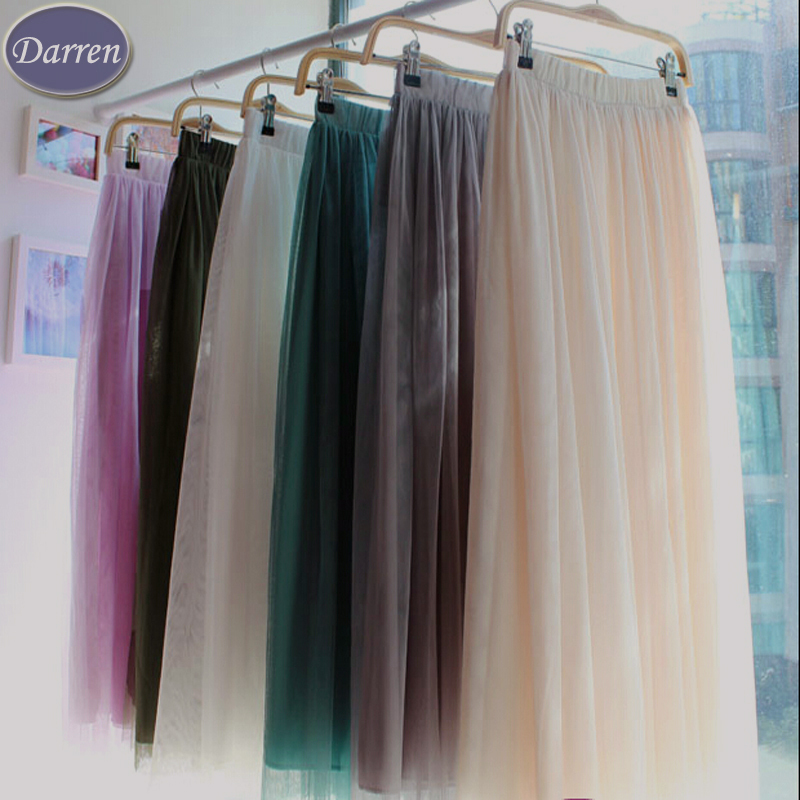 New Fashion 3 layer Long Gauze Voile Maxi Ball Gown Muslim Skirt Women's 18 color Ankle-Length Tulle Skirts Girls Saia Femininas(China (Mainland))