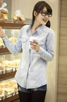 Nice quality long sleeve women tops and blouses 2014 new fashion, Euro style denim blouse, dark blue & light blue,Size S/M/L/XL