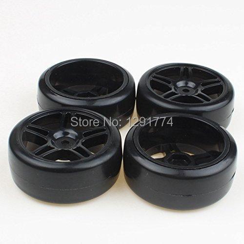 Black 5 Star Plastic Hub Wheel Rims&Hard Rubber Tires Tyre for RC 1:10 Drift Car(China (Mainland))