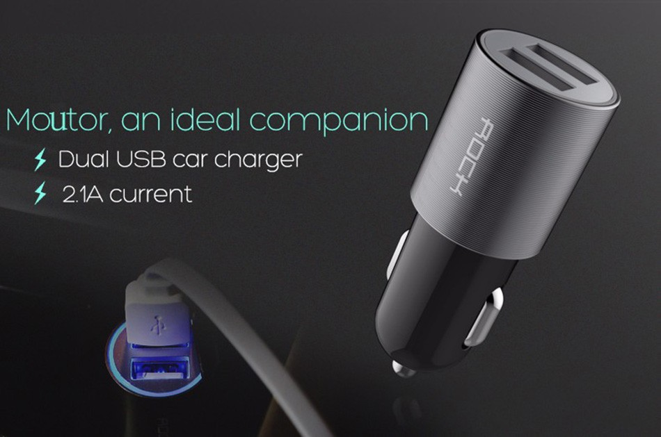 Rock Dual Usb Car Charger Adapter Smart 2 usb Port 2.1A Universal Car-charger for Samsung iphone Mobile Phone car accessories