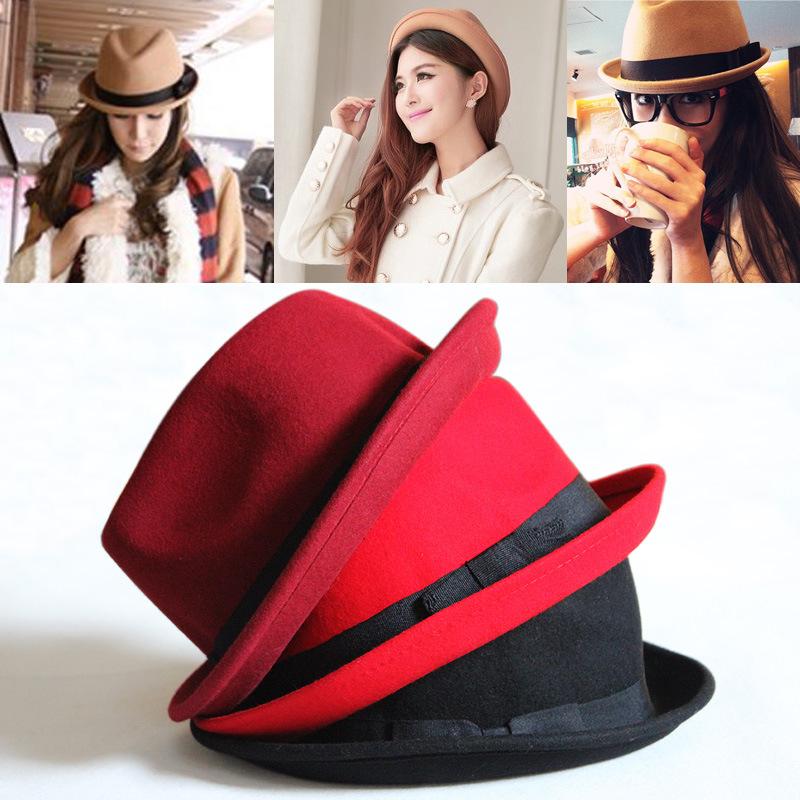 Choke a small chili British style curling pure wool hat winter warm hat ladies millinery jazz hat tide(China (Mainland))