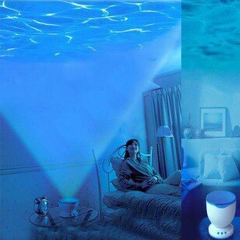 Night Light Projector Ocean Blue Sea Waves Projection Lamp With Mini Speaker(China (Mainland))