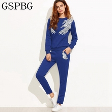 Buy 2017 Fashion Women Sets Long Sleeve Sporting Suits Runway Sweatshirts Tops + Pant Wing Printing Two Piece Set Sportwear Suit for $17.06 in AliExpress store