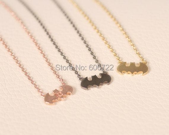 Aliexpress mode or / argent minuscule collier batman batman collier pendentif bijoux collier(Hong Kong)