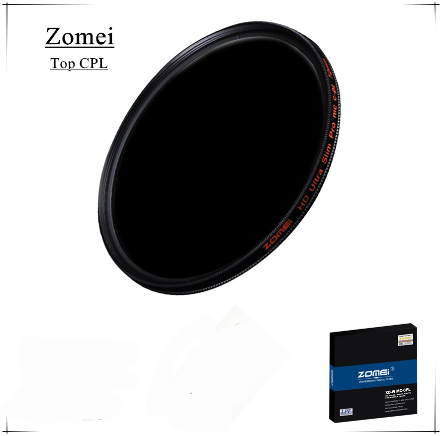 Top Quality UHD Zomei 49mm CPL Filter Germany Glass Polarizer Filtro 18 Layer Coating Water Oil Soil for Canon Sony Camera Lens(China (Mainland))