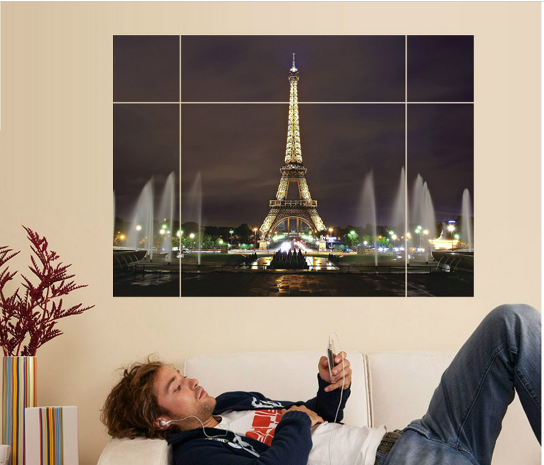 The Eiffel Tower puzzle wall stickers Sitting room adornment bedroom 3D wall stickers manufacturers selling(China (Mainland))