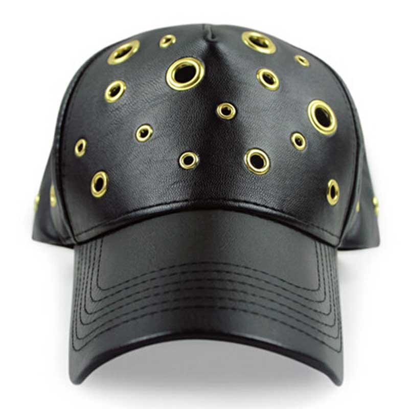 3pcs/lot Cool Studded Metal Hole Black PU Baseball Cap Snap Back Mens Spring Hip Pop Flat Bill Snapback Hat Bulk Hats Wholesaler(China (Mainland))
