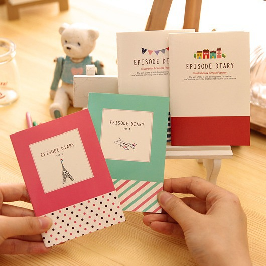 Mini Episode Pack of 4 Cute Lined Diary Mini Planner Pocket Journal School Study Notebook Kawaii Notepad Memo Tiny Note Gift<br><br>Aliexpress