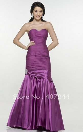 Free shipping beautiful purple chiffon and satin mermaid sweetheart neckline prom dress pr-1178