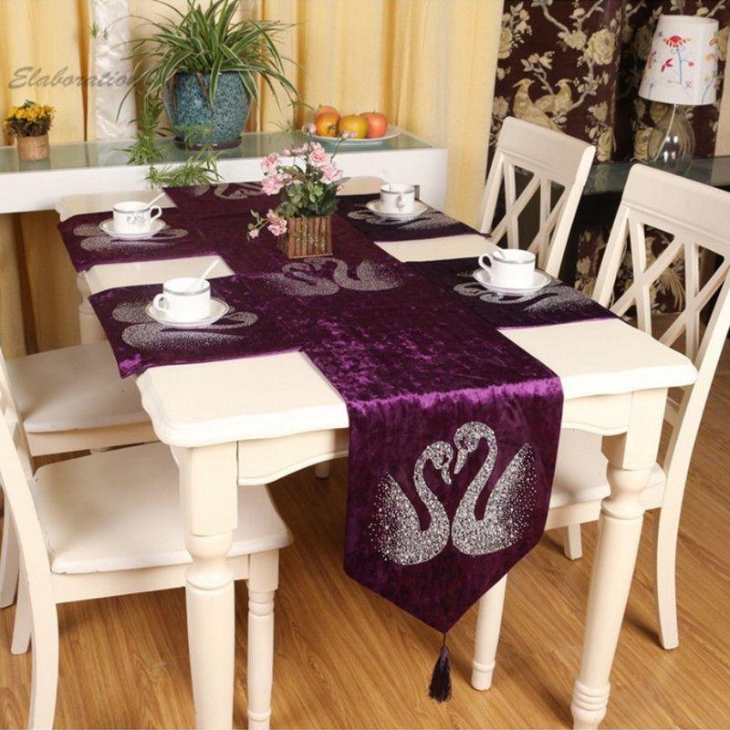 8 Colors Hot Swan Rhinestone Modern Wedding Table Runner Party Tablecloth caminos de mesa Crochet Table Runners chemin de table(China (Mainland))