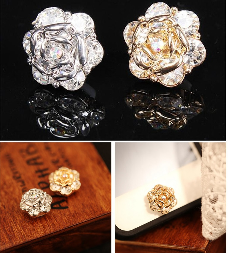 Only Silver color!!! 3D Rhinestone Flower Home Button Cover Sticker For iPhone 5 5C 4/4S/3G(China (Mainland))